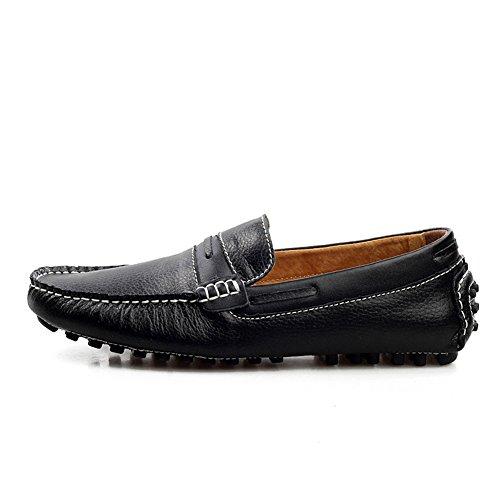 Santimon Heren Comfortabele Lederen Horsebit Mocassins Loafers Doug Schoenen Zwart
