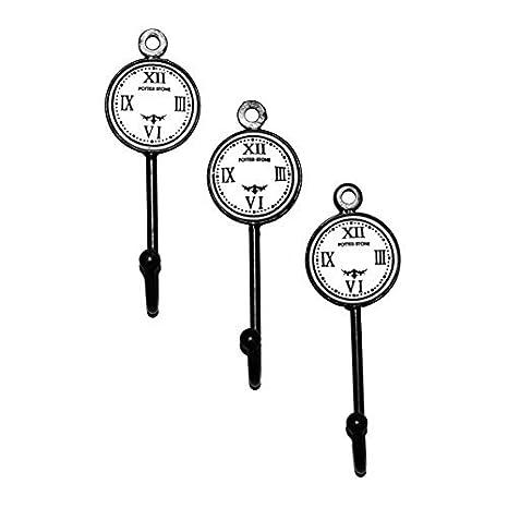 Conjunto de tres Vintage Shabby Chic pequeño potterstone reloj cara negro blanco perchero de pared de metal gancho perchero de pared