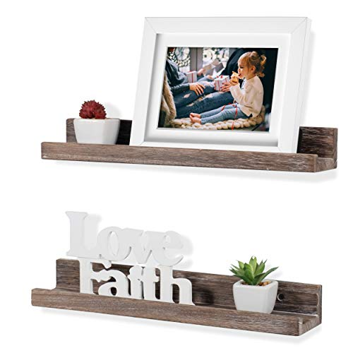 (Rustic State Ted Wall Mount Narrow Picture Ledge Shelf Display | 17 Inch Floating Wooden Shelves Distressed Walnut Set of 2)