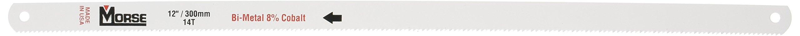 MK Morse HHCB1214-2 12'' Long 1/2'' Wide .025'' Thick 14 TPI Bi-Metal Hacksaw Blades, 2-Per Card