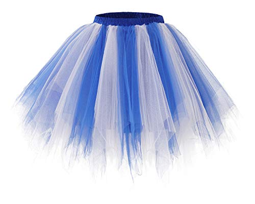 Bridesmay Women's Tutus Tulle Skirt 50s Vintage Petticoat Ballet Bubble Skirts Royal White L
