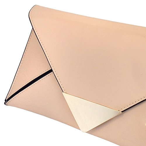 Patent Leather Envlope Nude JNB Glossy Faux Clutch E56nIwCqzx