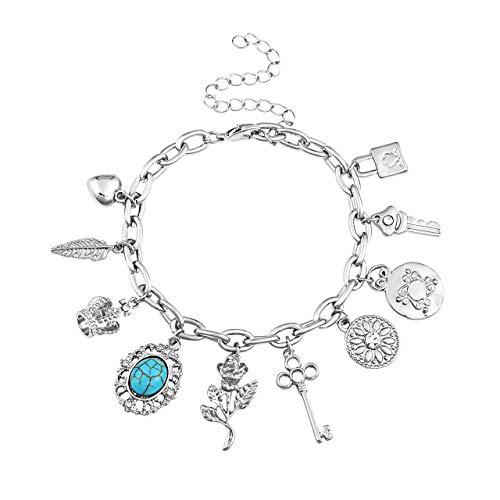 (ALEXY Women's Link Charm Bracelet Unicorn Clover Star Heart Pendant Charms Bracelet Bangles for Girls (F Silver))