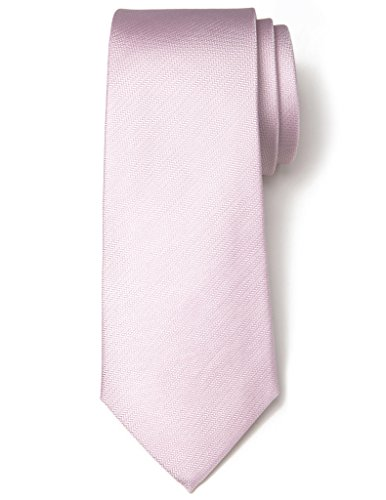 Origin Ties Men's Solid Color with Herringbone Striped Silk Basic Tie 2.75'' Skinny Necktie Pink (Necktie Silk Pink)