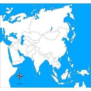 Cartina Asia Muta Fisica.Montessori Nuova Carta Geografica Dell Asia Muta Geografia