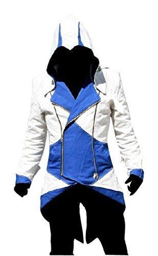 DAZCOS US Size Multicolor Killer Cosplay Coat Kenway Hoodie/Jacket (Men M, White+Blue) -