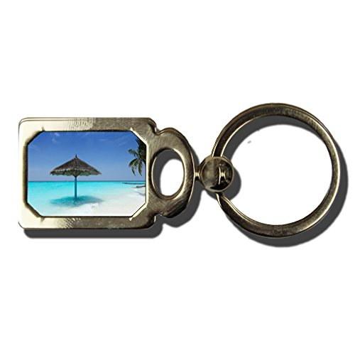 Maldives Beach One Side Framed Metal Key Chain from Style in Print
