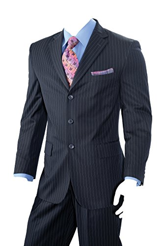 Men's Two Piece Three Button Pin-Stripes Reg Fit Suit (Navy) (42L)