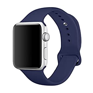 Yimzen Soft Silicone Sport iWatch Band Strap for Apple Watch Series 3 2 1 Sport and Edition, 42mm, Medium/Large, Midnight Blue