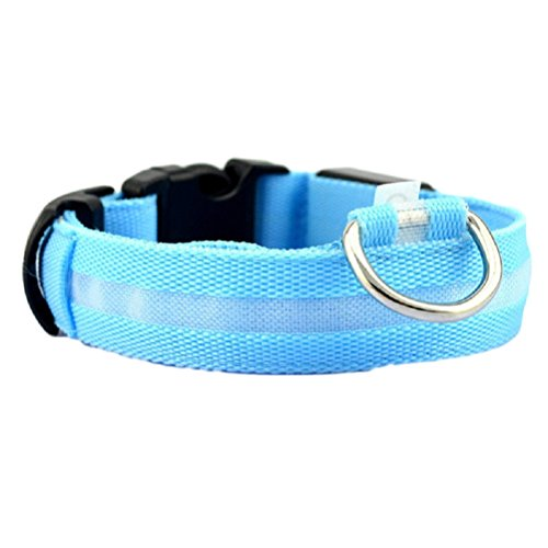 (Puppy Collar,Neartime Lighted Up Nylon Solid LED Dog Collars Glow Necklace (S, Blue))