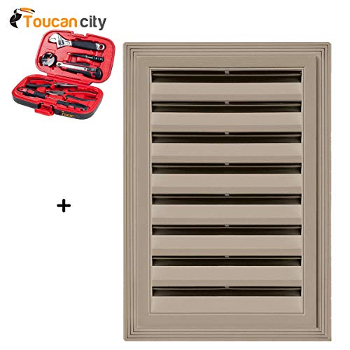 Toucan City Tool Kit (9-Piece) and Builders Edge 12 in. x 18 in. Rectangle Gable Vent #095 Clay 120061218095