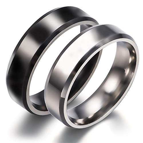Beydodo Wedding Ring Bands Set Polished Ring Beveled Edge 6mm Women Size 10 and Men Size 7 His and Hers Wedding Ring Sets Stainless Steel