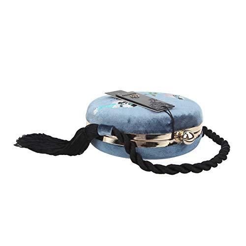 Brodée Bonjanvye Blue Franges De À Pochette Soirée Sxtwx7T