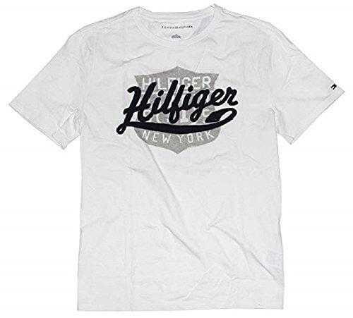 (Tommy Hilfiger Men's Graphic Logo Cotton T Shirt (White, XXL))