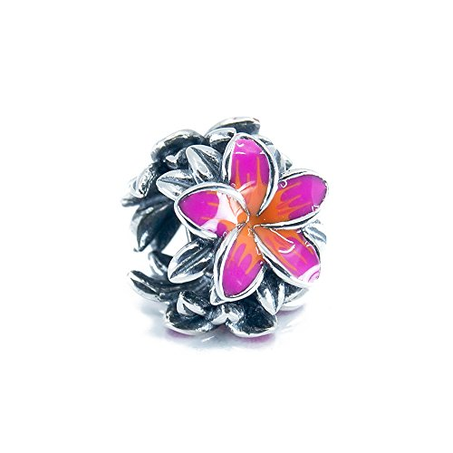 Tropical Flower Plumeria Frangipani Flower Sterling Silver Charm Bead S925, Hawaiian tropical Flower Bead, Blooming Tropical flower, Enamel Flower Fuchsia & Red Jewellery, Pandora bracelet compatible