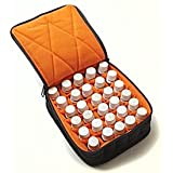 "30-Bottle Essential Oil Carrying Cases hold 5ml, 10ml and 15ml bottles - Black with Dusk Orange interior - 3"" high"