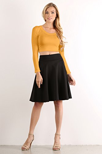 930f4851db262e Simlu Womens Crop Top Round Neck Basic Long Sleeve Crop Top with Stretch  Reg and Plus