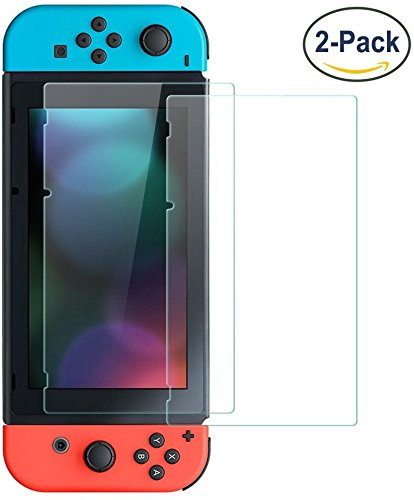 SMAZ LIFE Nintendo Switch Screen Protector Case Cover Tempered Glass 2017-2.5D /0.26mm Ultra Thin Tempered Glass Film for Nientendo -Anti Scratch Anti Bubble -2 Pack
