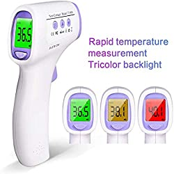 JLDN Thermometer Non-Contact, Thermometer for Fever with Fever Indicator Instant Accurate Reading with LCD Display for Fever Ear and Forehead