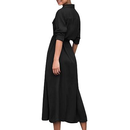 Vestido Largo Elegante SUNNSEAN Fladas Largas de Cuello de Camisa ...