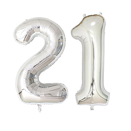 40 inch Jumbo Silver Number Balloons for Birthday Party, Anniversary Decoration … (Silver21) ()