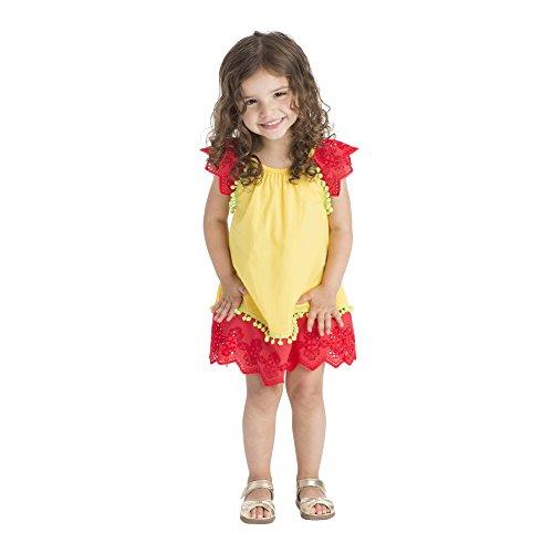 Masala Baby Baby Girls' Flutter Dress Eyelet, Yellow, 3-6M by Masala Baby