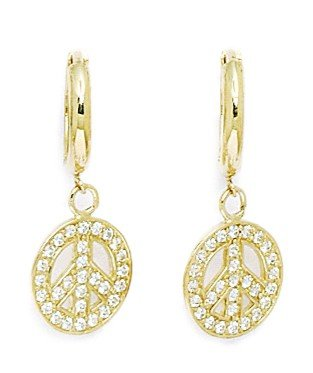 14k Yellow Gold Cubic Zirconia Peace Sign Drop Hinged Earrings - Measures 25x10mm Mitzvah Hinged Box