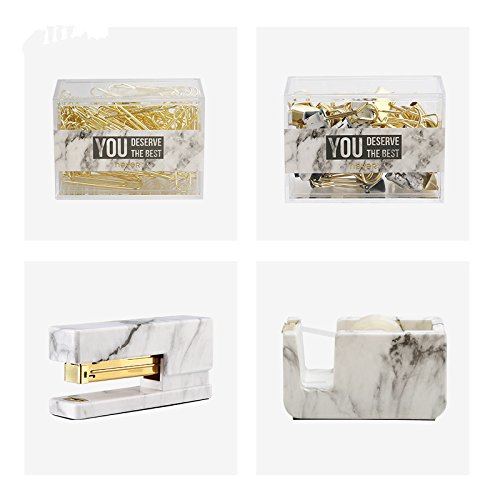 Neve Marble Office Supplies Gift Kit Gift Stationery Set Acrylic Stapler Tape Dispenser Paper Clip Binder Clips School Supplies