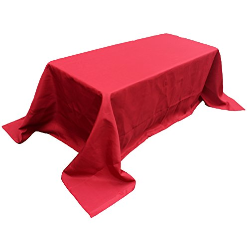 Red Fabric Tablecloth - FantasyDeco Rectangular Polyester Fabric Tablecloth, Red, 90x132-inch