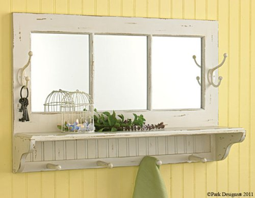 Park Designs Southport Mirrored Shelf with Hooks Distressed Aged Cream Finish