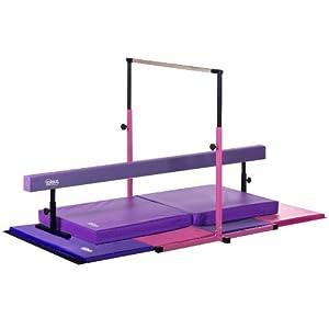 Nimble Sports Pink and Purple Deluxe Gymnastics Set Adjustable Bar and Balance Beam Folding Mat Landing Mat