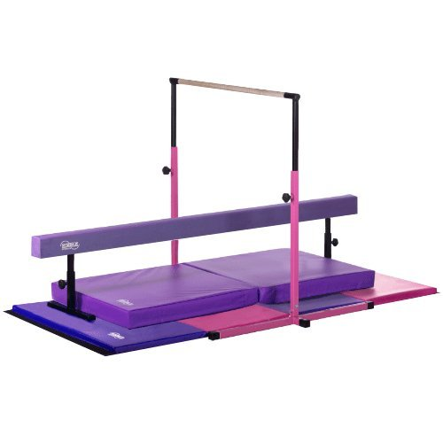 Little Gym Deluxe Gymnastics Set Adjustable Bar Adjustable Balance Beam 4ftX8ft Folding Mat 3ftX6ft Landing Mat