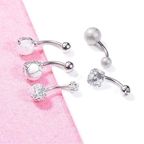 5Pcs Belly Button Rings Stainless Steel Opal Navel Rings Barbells Studs Women Girls Body Piercing Jewelry