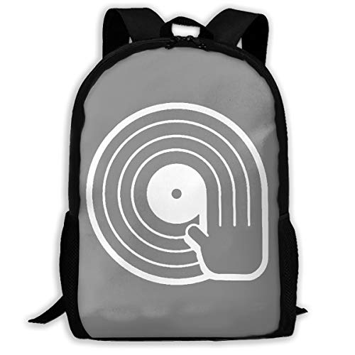 Lightweight DJ Vinyl Record Player Printed School Backpack Water Resistant Travel Rucksack Bag Laptop Backpack Daypack,17 Inch