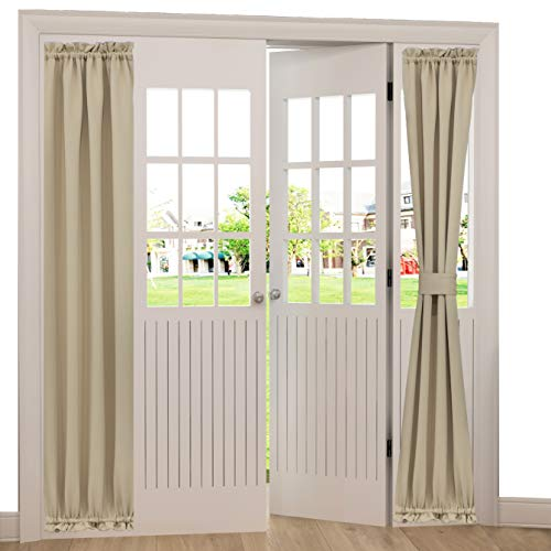 Spring Garden Home French Door Side Curtains Decoration Sliding Door Blackout Curtain Light Block Window Treatment for Front Back Door, 1 Panel, 25 x 72-inch, Warm Beige from Spring Garden Home