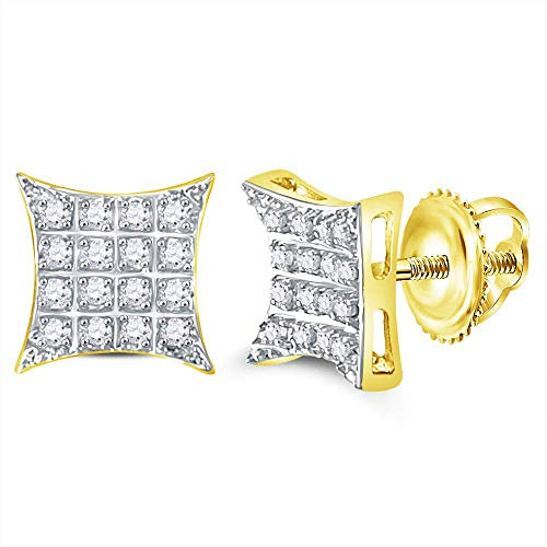 (Jewels By Lux 10kt Yellow Gold Mens Round Diamond Kite Square Cluster Stud Earrings 1/10 Cttw In Prong Setting (I2-I3 clarity; J-K)