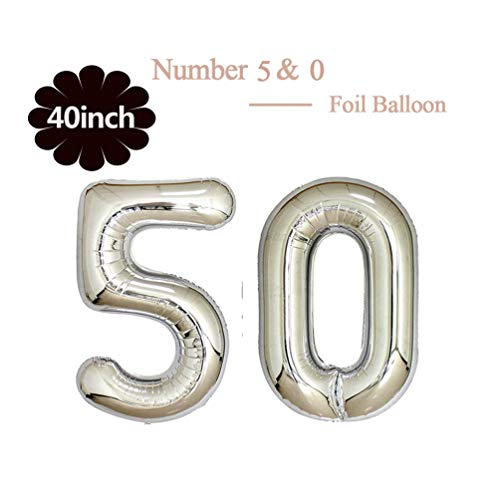 40 Inch Jumbo Silver Foil Mylar Number Balloon for Men Women 50th Birthday Party Decoration 50 Years Old Anniversary Party Supplies