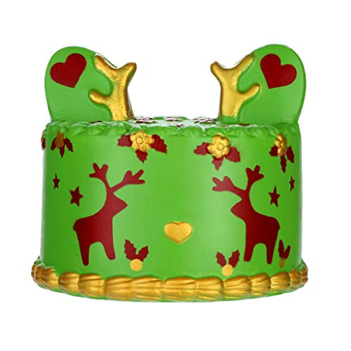 WFFO Slow Rising Squishy Toy, Squishies Deer Cake Super Slow Rising Fruits Scented Squeeze Stress Relief Toys (Green)