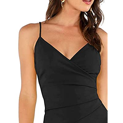 Verdusa Women's Sexy Ruched Side Asymmetrical V Neck Bodycon Cami Dress: Clothing