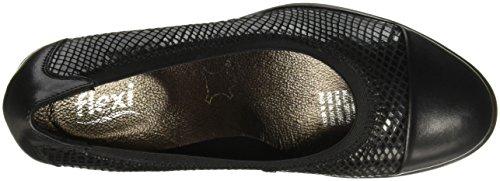 Flexi Zapatos para de Mujer 45503 cuña piso Moana Negro TwErAT