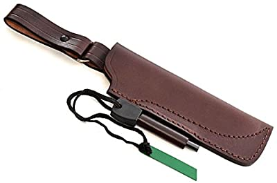 "CFK Cutlery Company USA Custom QUALITY Brown Leather Handmade 6"" Blade DANGLER Hunting Skinning Knife Belt Sheath CFK163"