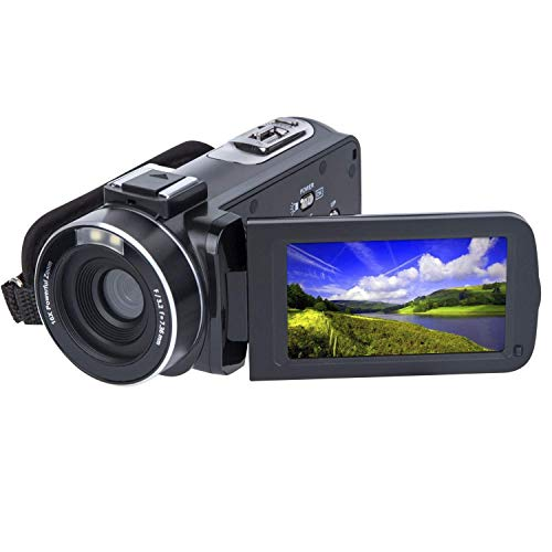 Video Camera Camcorder HD 1080P 24.0MP 3.0′ LCD 270 Degrees Rotatable Screen 16X Digital Zoom Camera Recorder Face Detected 2 Batteries Included