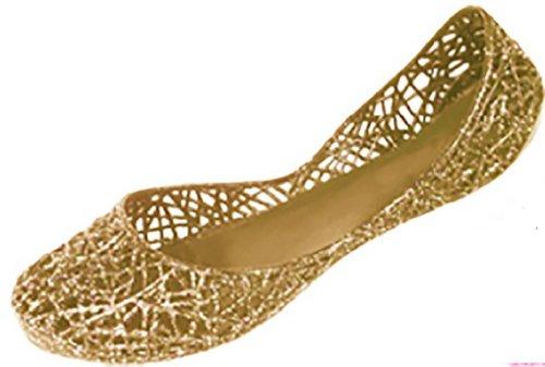 Shoes8teen Kvinners Skli På Ballett Leiligheter Gelé Sko M / Glitter Overlegg 4530 Gull