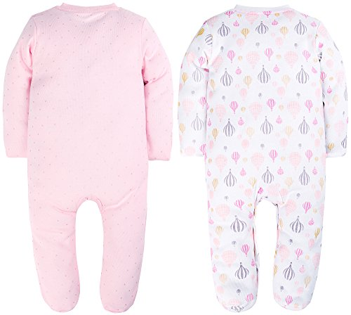 YXD Fold Over Footed Baby Girls 2-Pack Pajamas 100% Cotton Blanket Sleeper Pajamas Set Printing Kitten and Air Hot Balloon (with Mitten Cuffs, Footed Pajamas, 50CM)