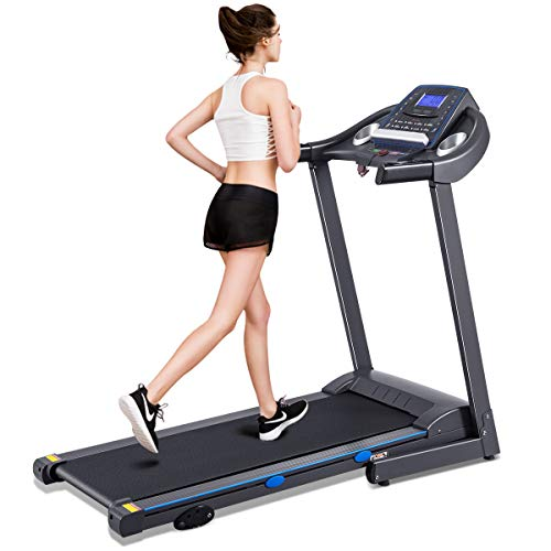 GYMAX Folding Treadmill, Electric Motorized Running/Walking Machine with LCD Display, Heavy Duty Exercise Machine for Home/Gym