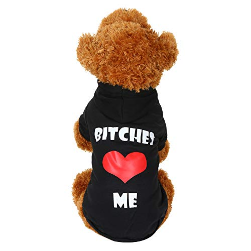 - Pet Clothes, Puppy Hoodie Sweatshirt Bitches❤️ME Printed Cat Doggy Fleece Hooded Sweater Pullover Shirt (L, Black)