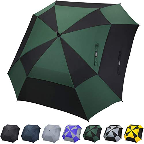 G4Free Extra Large Square-Shape Golf Umbrella 62 Inch Oversize Double Canopy Vented Umbrella Windproof Automatic Open Stick Umbrellas for Men Women ()