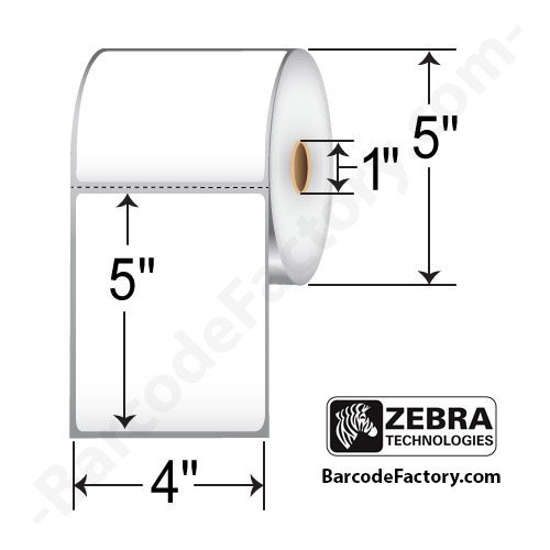 Zebra Technologies 10009531 Z-Select 4000T Paper Label, Thermal Transfer, Perforated, 4
