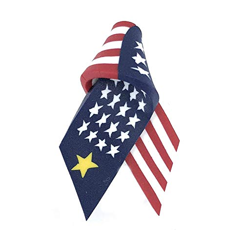 Gold Star Mothers Military Sons Daughters Flag Ribbon Lapel Pin Brooch Red White Blue Handmade USA ()
