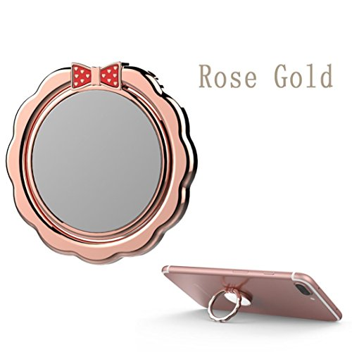 Price comparison product image Mchoice Mobile Phone Holder Shape Metal Finger Mirror Ring Stand Holder Phone Bracket (Rose Gold)